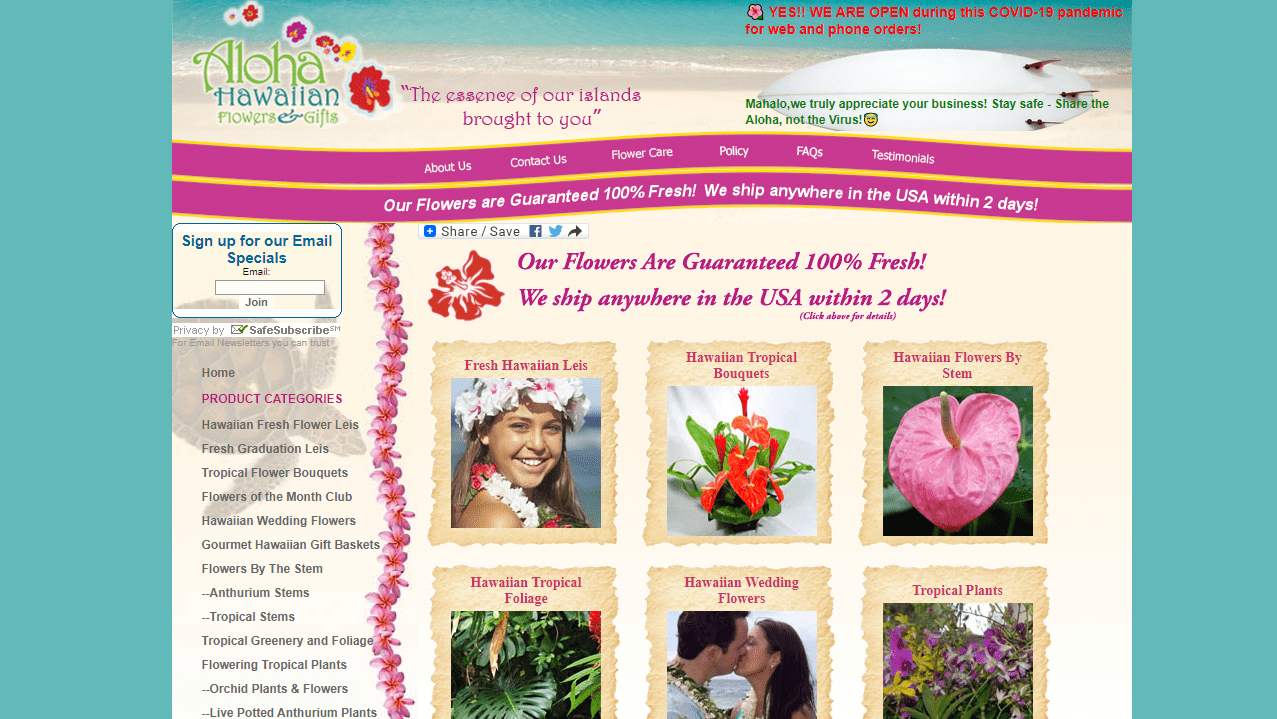 Aloha Hawaiian Flowers' Homepage